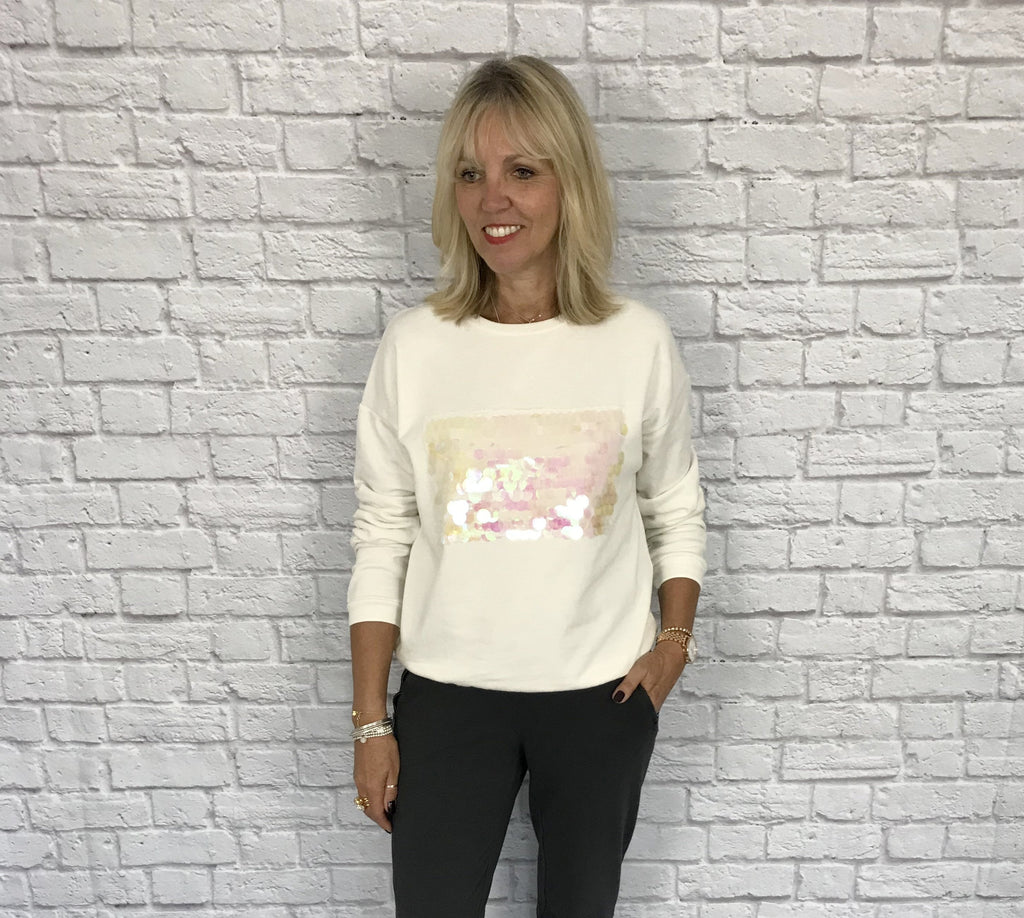 Ivory White Sweatshirt with Pearlised Sequins
