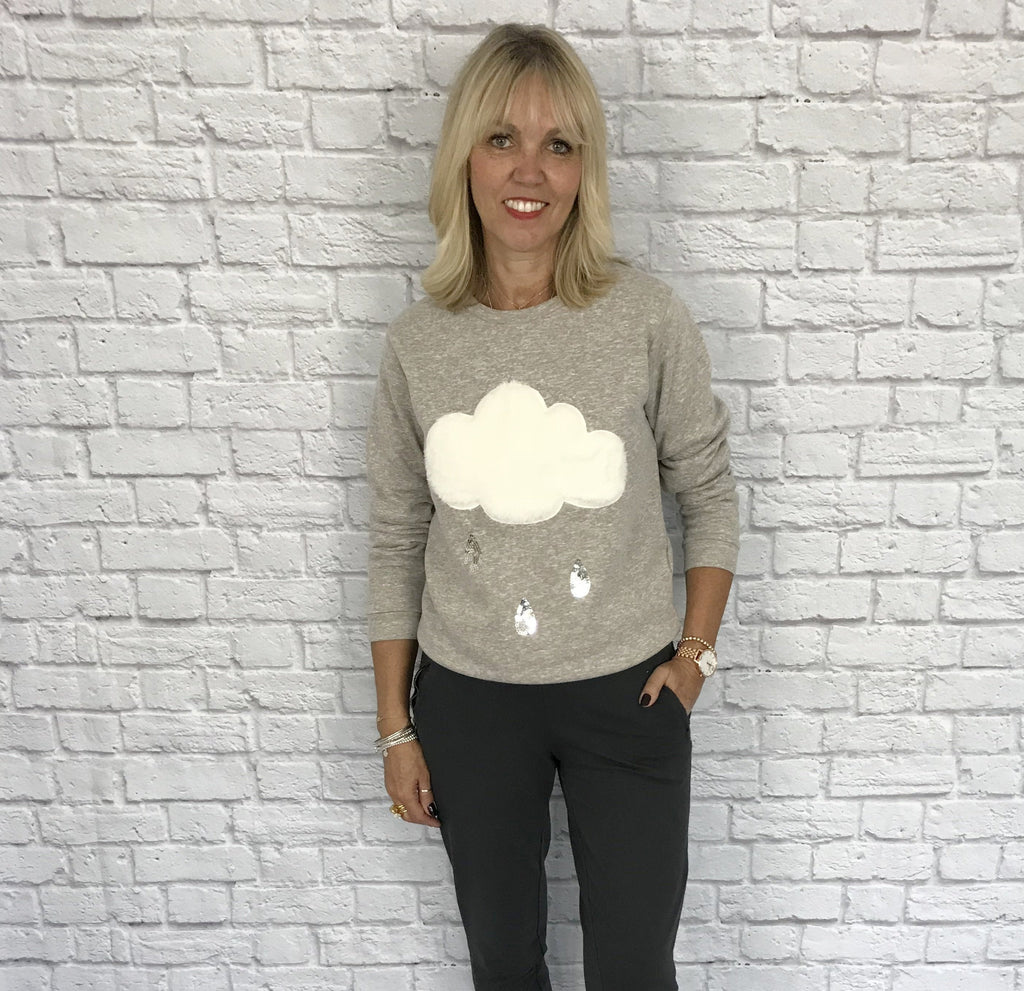Taupe Sweatshirt with Faux Fur Cloud & Sequin Rain