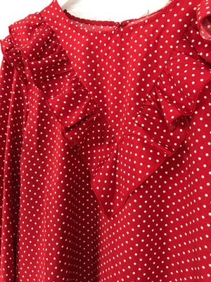 Red Blouse with White Polkadot