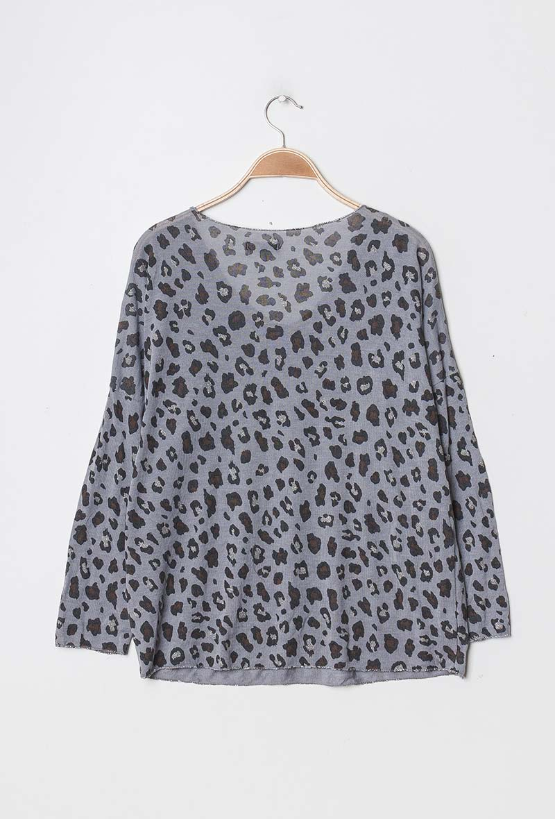 Leopard Print Jumper in Grey