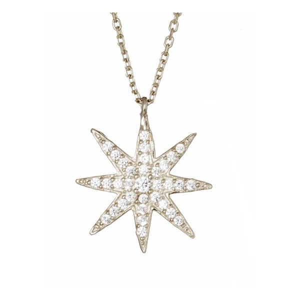 Sterling Silver Crystal Sun Necklace by Lucky Eyes London