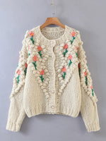 Bobble Cardi with Hand Embroidered Flowers