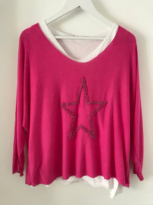 Pink Two Piece Top with Shimmery Star