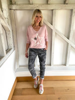 Soft Double Star Top in Pink