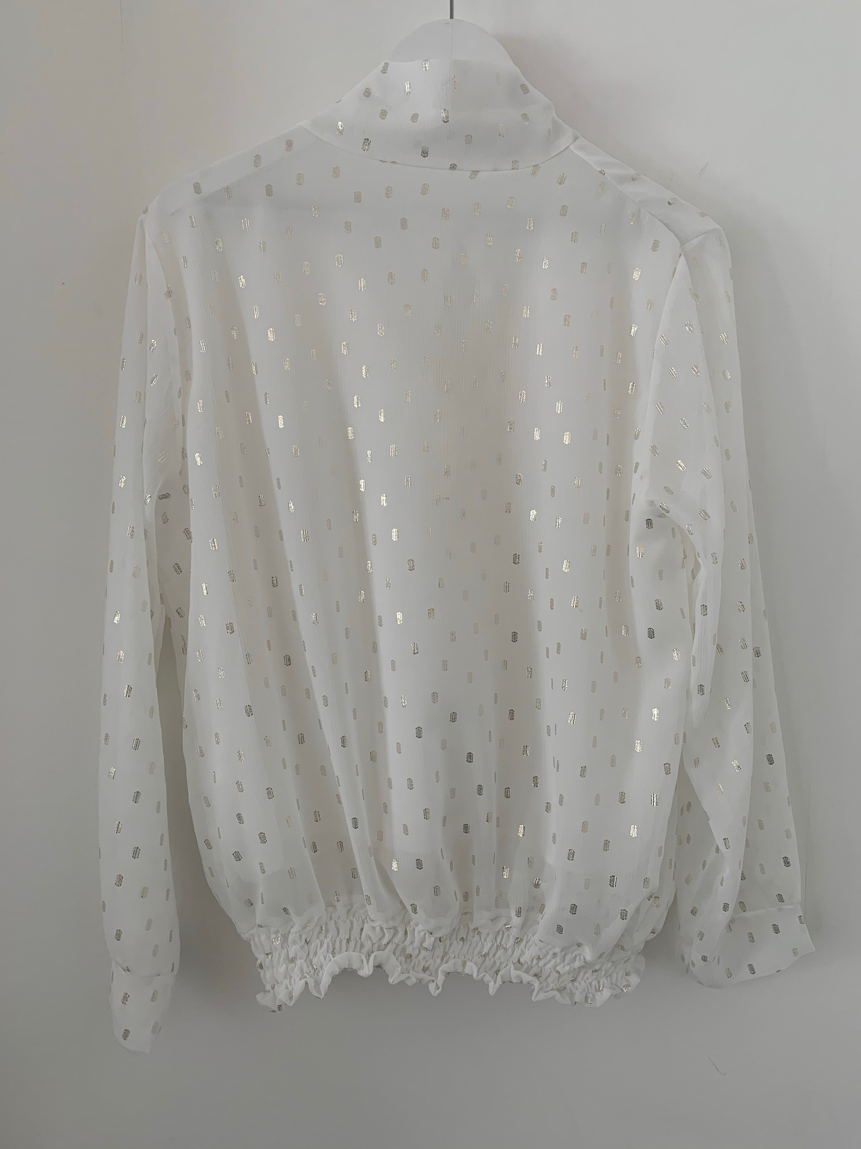 Ivory Blouse with Gold Spots