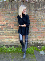 Roll Neck Poncho Jumper in Black
