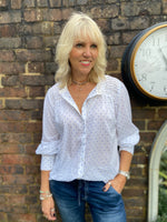 White Pintuck Spotted Blouse