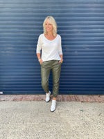Leather Look Joggers in Khaki