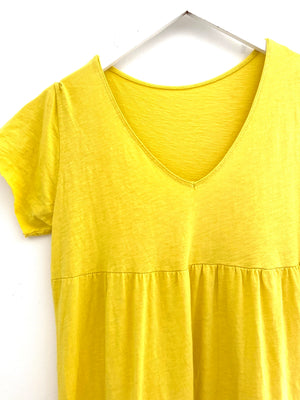 Tiered Cotton Dress in Yellow