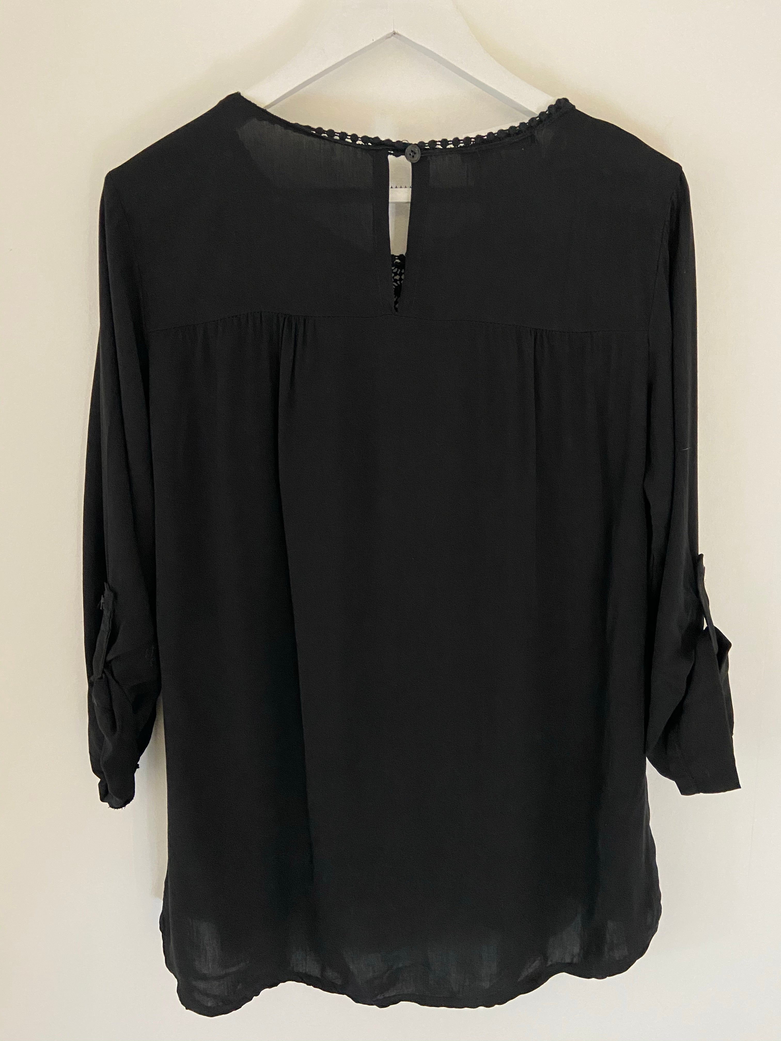 Blouse with Lace Yoke in Black