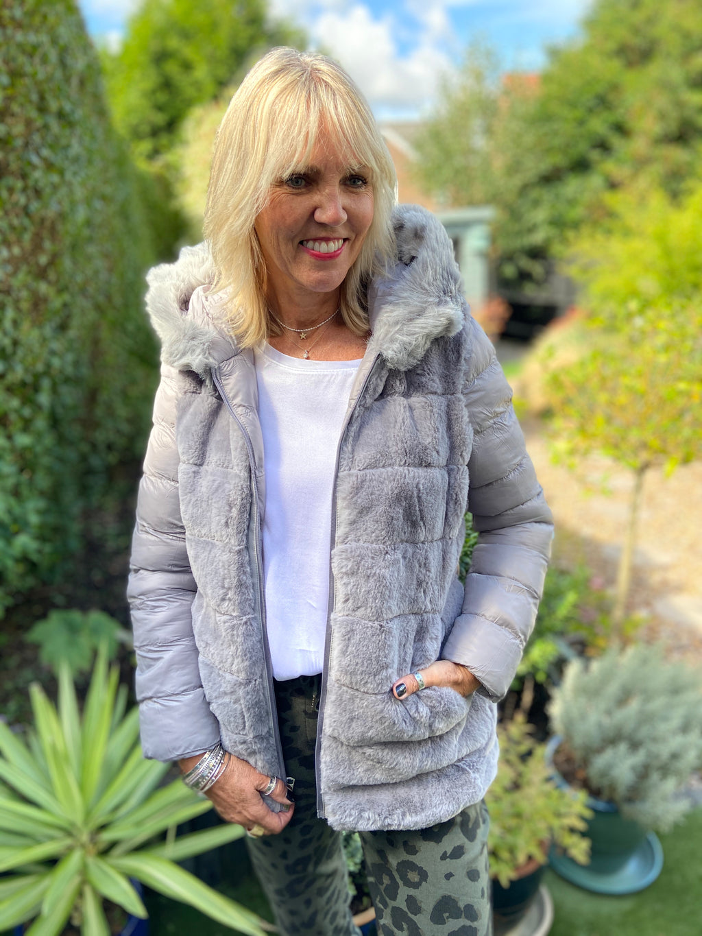 Grey Reversible Quilted & Fur Coat