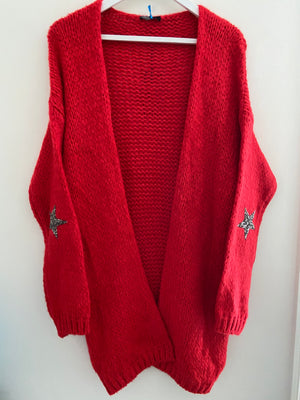 Long Cardi with Elbow Stars in Red
