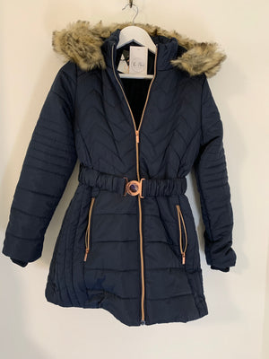 Navy Quilted Coat with Hood