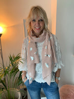 Pale Pink Scarf with Silver Cats