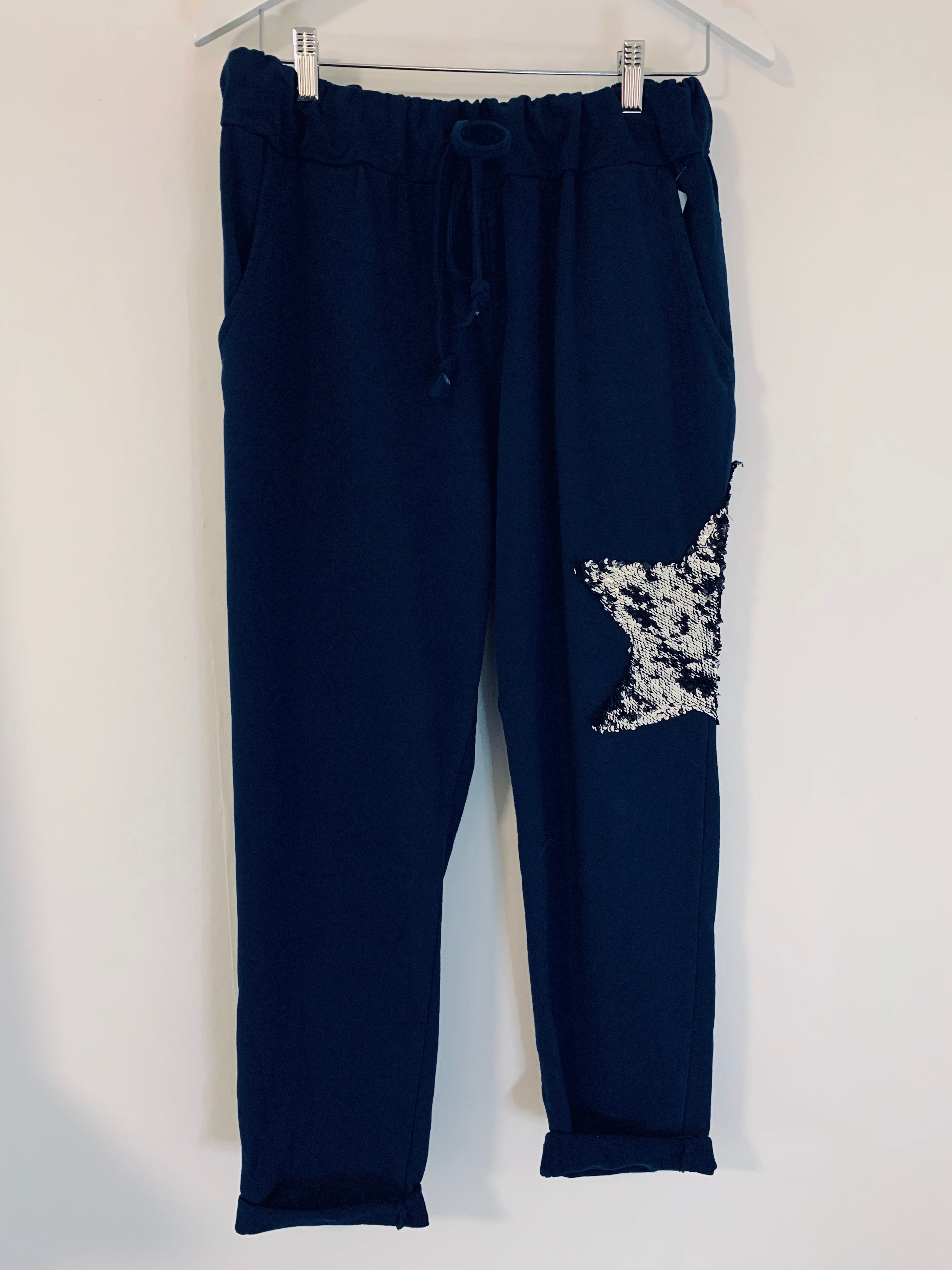 Navy Sequin Star Joggers