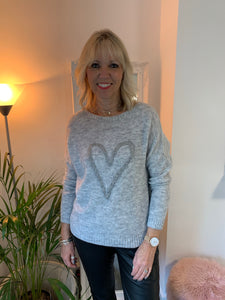 Grey Jumper with Silver Heart