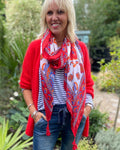 Red and Blue Scarf with Tassels