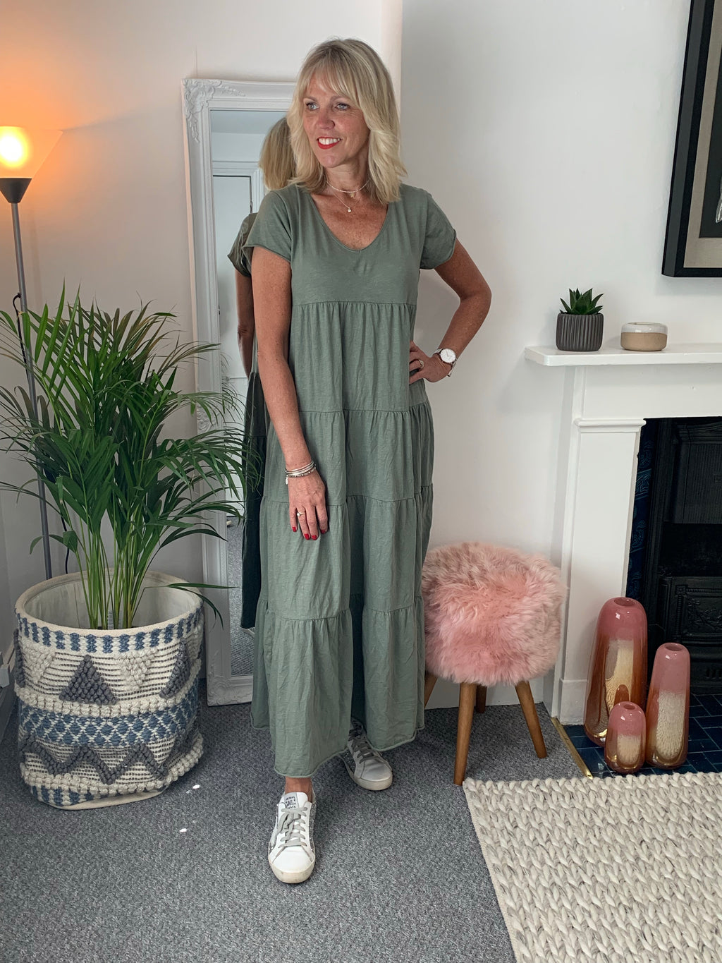 Khaki Tiered Cotton Dress