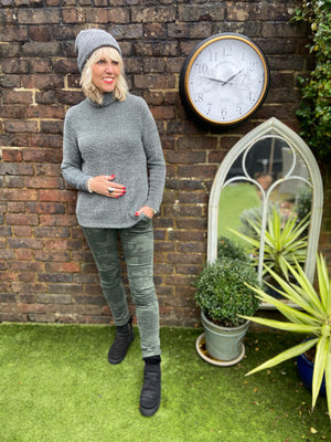 Roll Neck Jumper in Grey