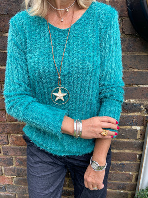 Eyelash Jumper in Jade & Star Necklace