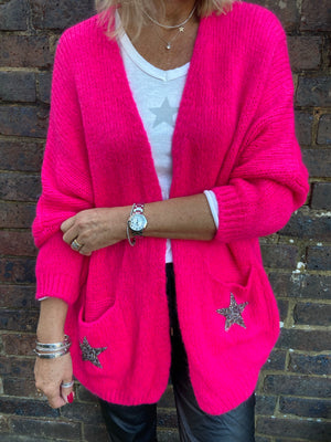 Star Pocket Cardi in Fuchsia Pink