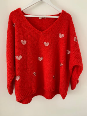 Sequin Heart Jumper in Red