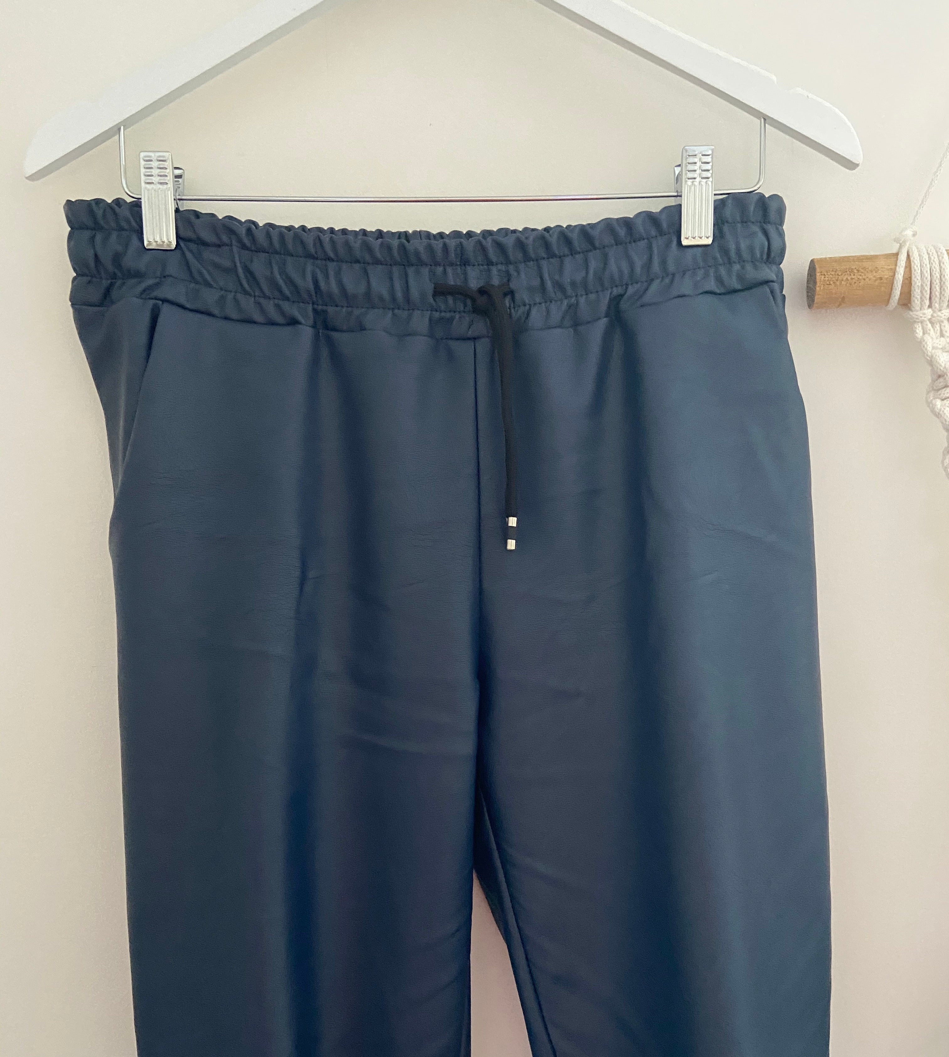 Leather Look Joggers in Blue