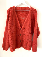 Lace Knit Cardi in Burnt Coral