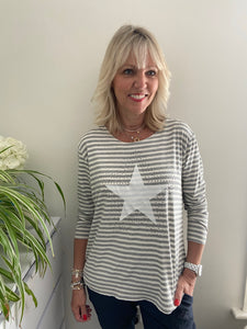 Stripe & Star Long Sleeve Top in Grey