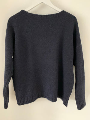 Navy Jumper with Silver Heart