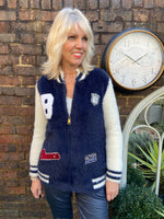 Fluffy Zipped Cardigan with Embroidered Badges