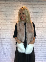 Pink Faux Fur Scarf with Pockets