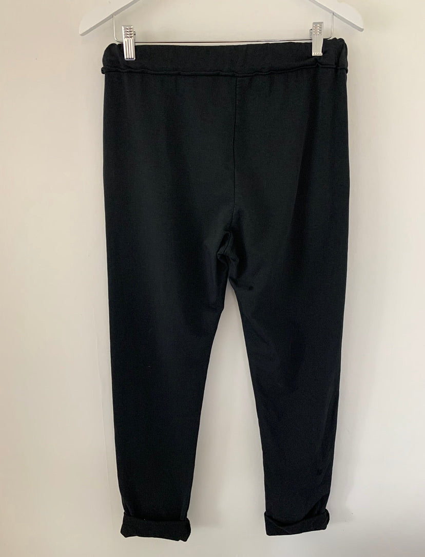 Basic Black Cotton Joggers