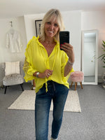Blouse with Lace Sleeves in Yellow