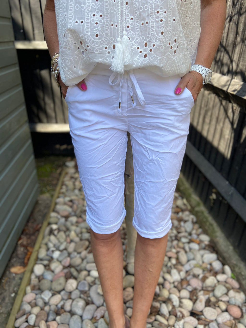Super Stretch Cotton Shorts in White