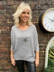 Double Star Top in Grey
