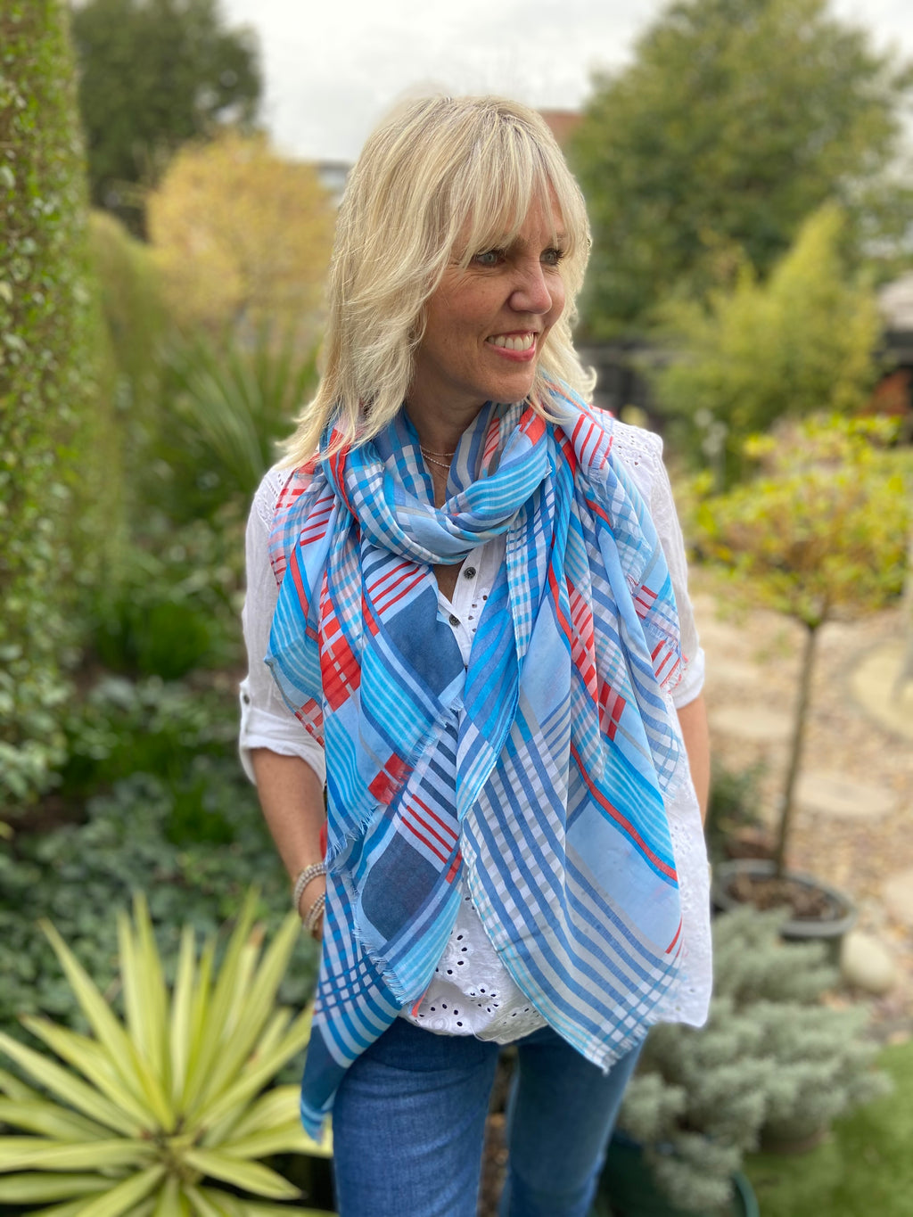 Blue and Red Checker Scarf