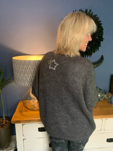 Charcoal Mohair Jumper with Star