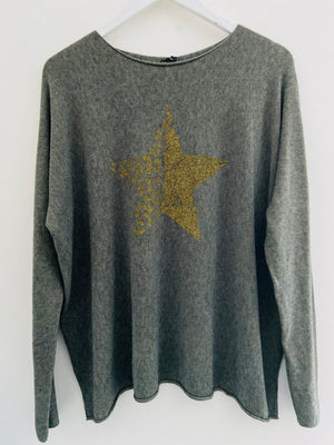 Swing Star Cashmere Mix Jumper in Khaki