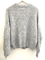 Cable Cardi in Silver Grey