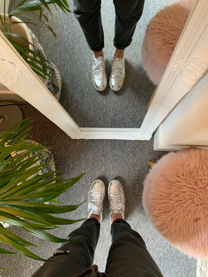 Silver Leather Trainers