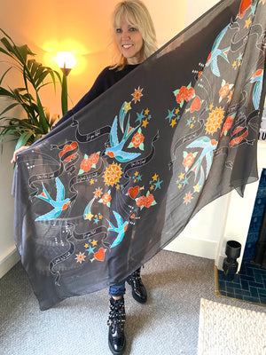 Swallow Tattoo Scarf