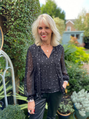Silver Star Blouse in Black