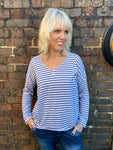 Stone & Blue Stripe Long Sleeve Top