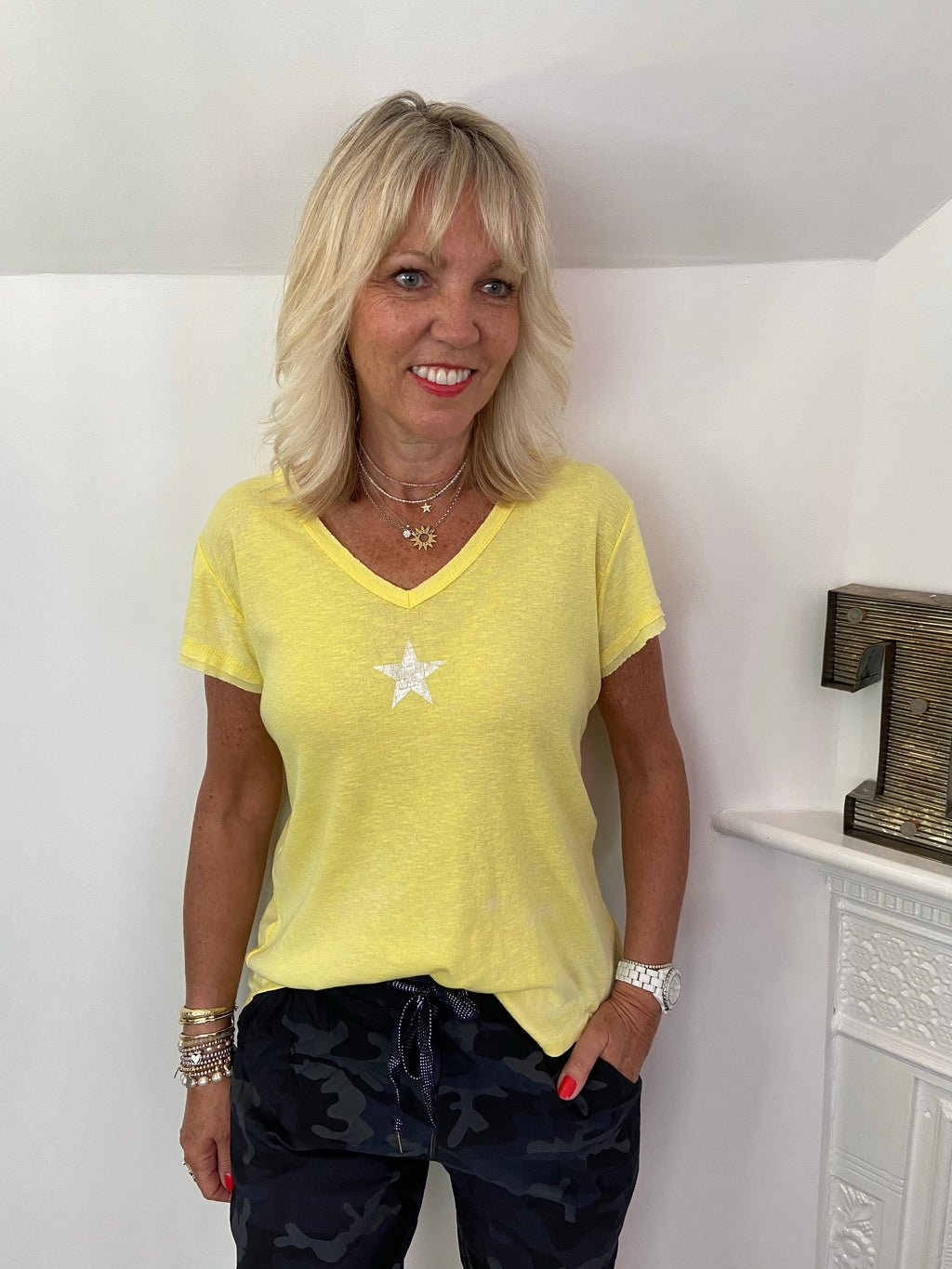 Vintage Star Tee in Yellow