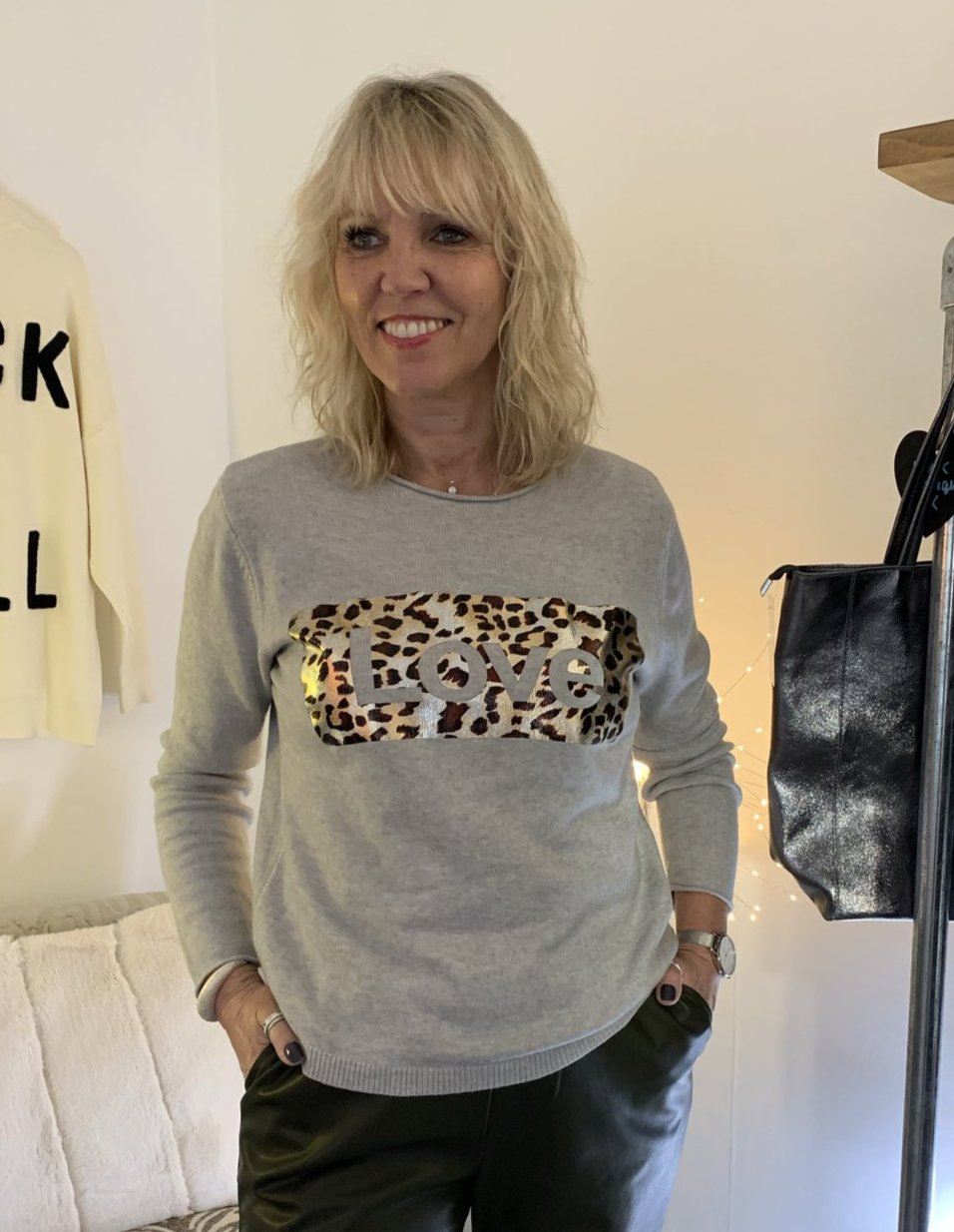 Grey Jumper with Leopard Love