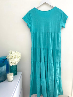 Tiered Cotton Dress in Turquoise Green