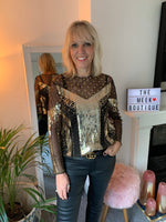 Black & Gold Sequin Top