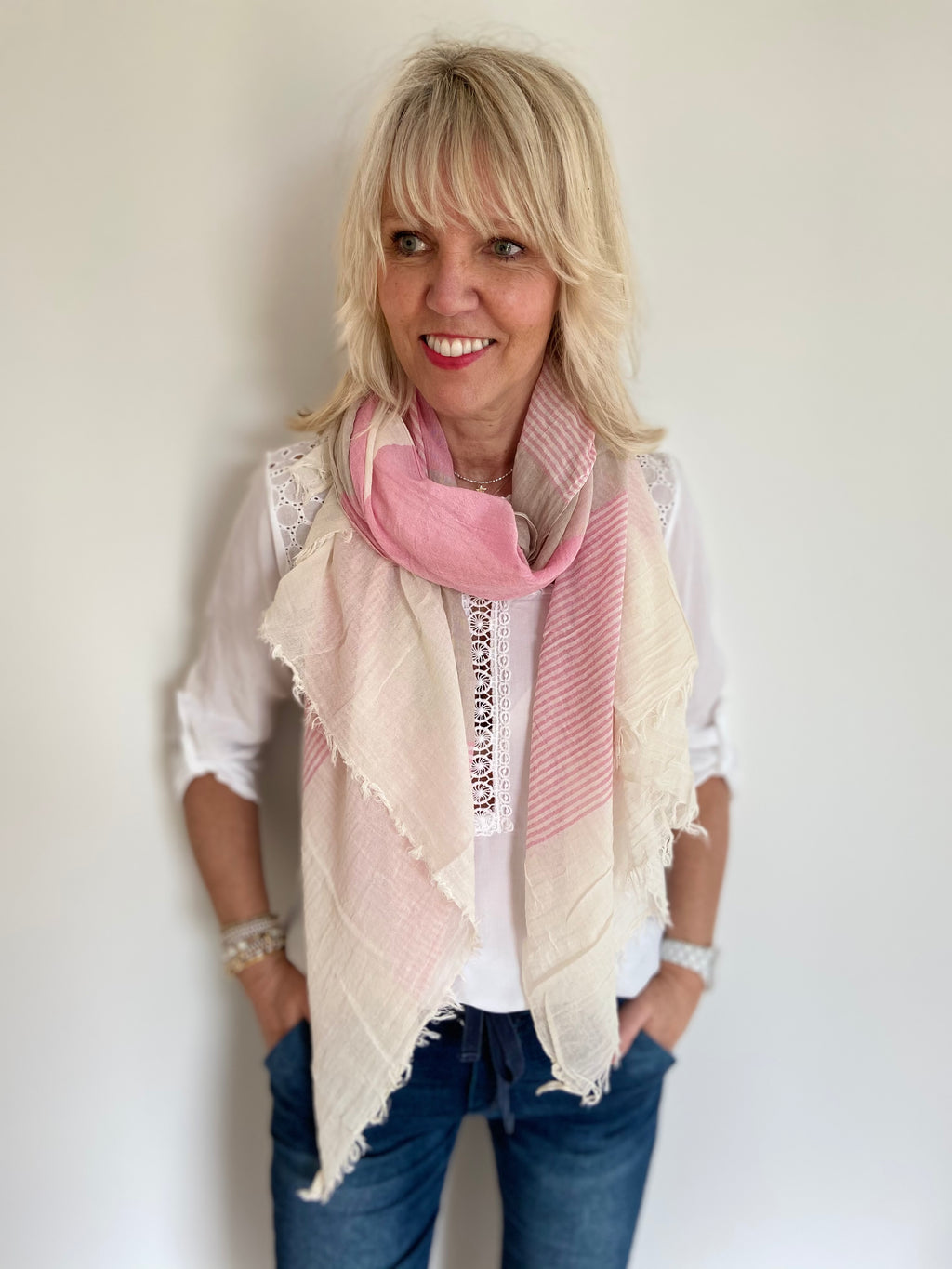 Stripe Scarf in Pinks