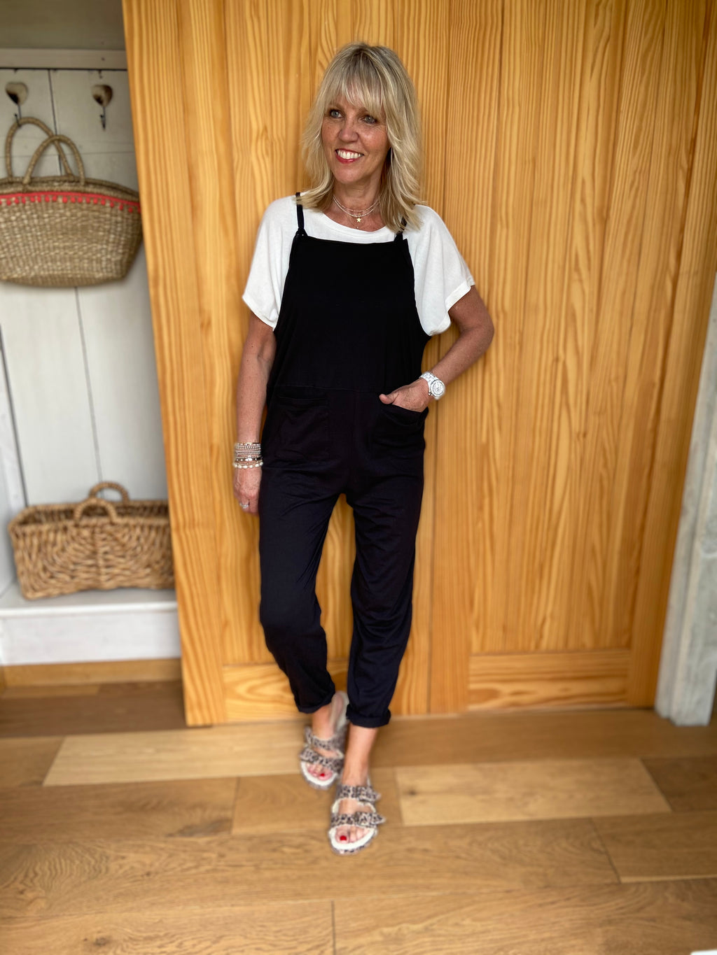Light Jersey Dungarees in Black